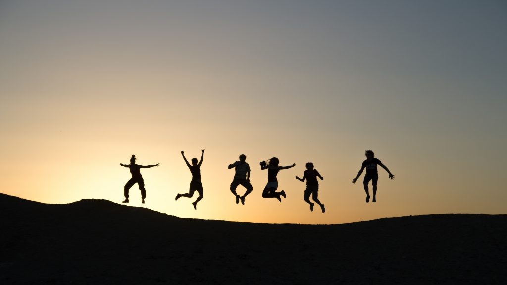 Teach your children fairness and firmness. 6 people jumping