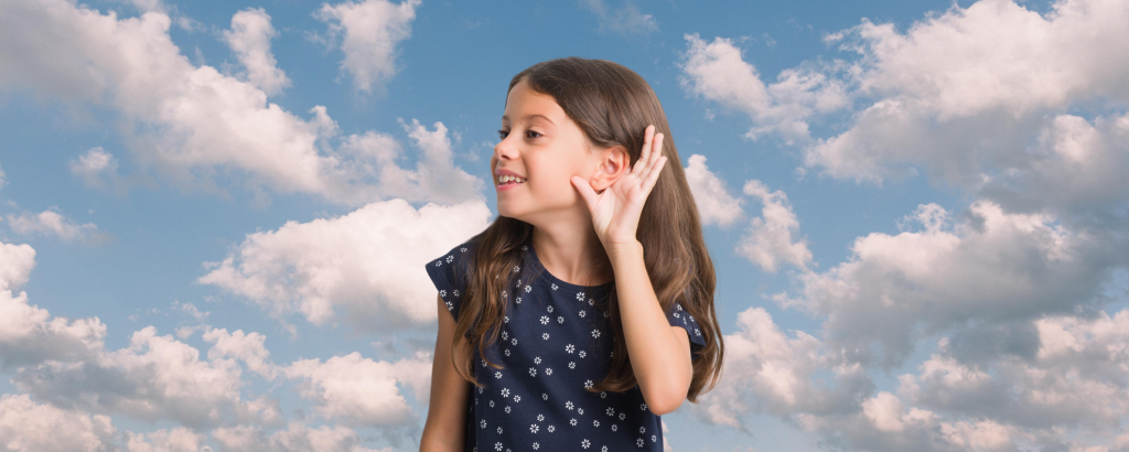 Girl with hand to ear, clouds in background, #HearHim