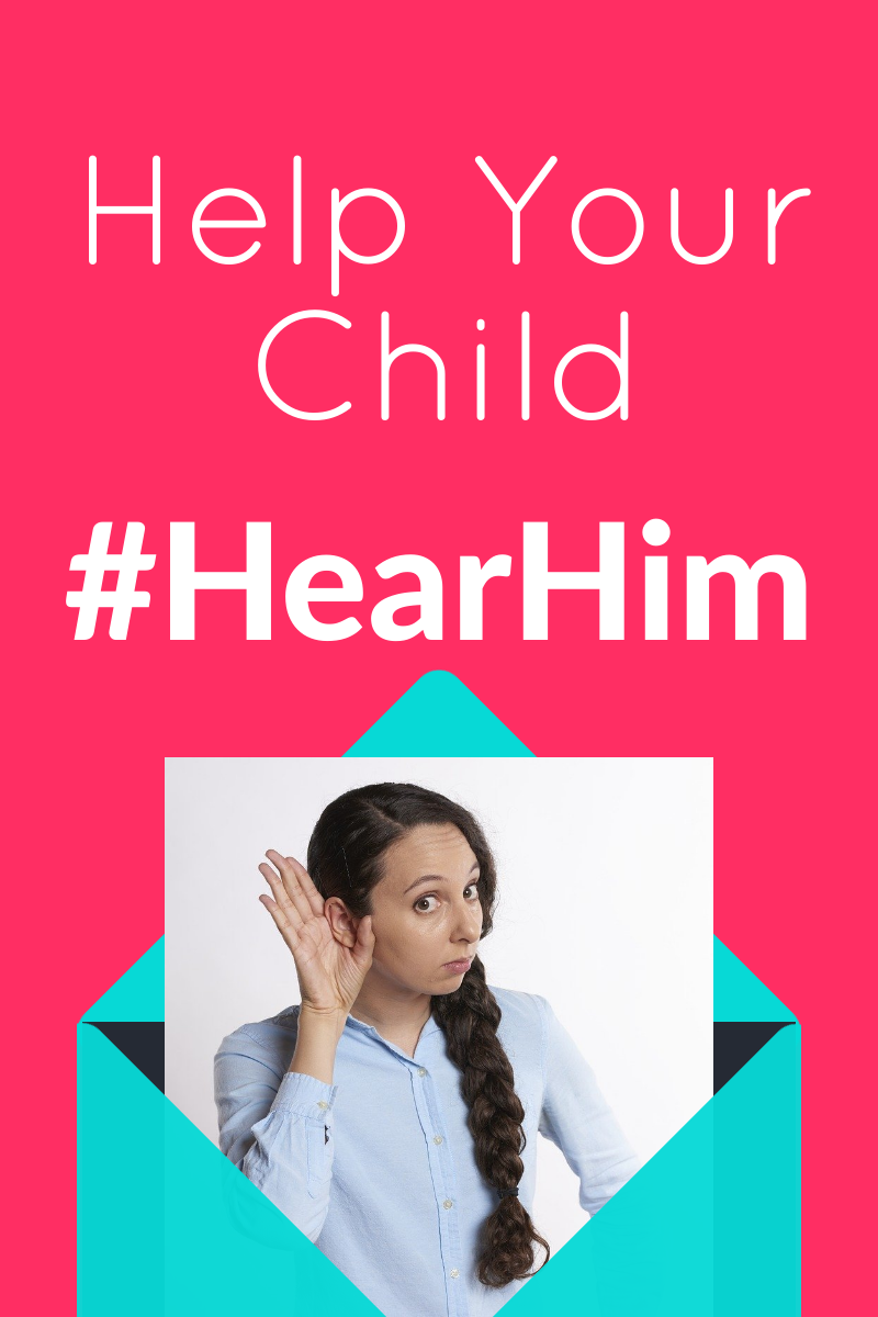 Woman with hand to ear, Teach your Child to #HearHim
