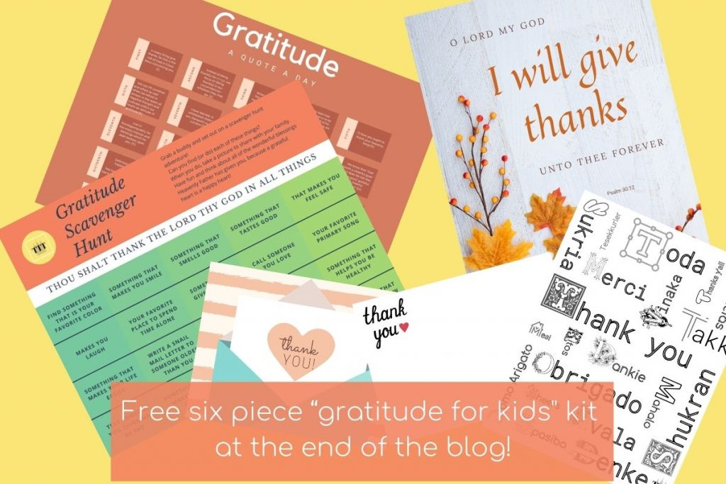 FREE Gratitude for kids kit