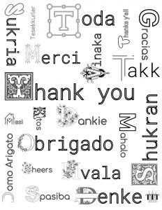 Thank You in 20 Languages Coloring Page