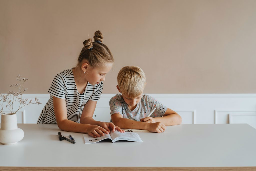 girl serving a boy by helping him with homework