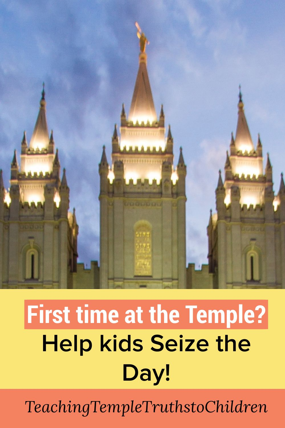 """First time at the Temple? Help your kids seize the day Leave a Comment / Should I Share Temple Truths with My children? / By Suzi First impressions are powerful. Here are 4 great tips to help your kids start their Temple journey out right. """"Temples are place of personal revelation. When I have been weighted down by a problem or a difficulty, I have gone to the House of the Lord with a prayer in my heart for answers."""" Ezra Taft Benson 4 tips to help your kids get the most out of their first time at the Temple Here are four important tools you can give your kids. They will magnify the blessings of their all important first experience in the Temple. Take a few minutes to talk to them about these three skills. 1st – Come with questions, problems and a grateful heart Going to the Temple for the first time (and every time) is an amazing opportunity to receive answers and help from the Lord. There is something about going to the House of the Lord that helps us tune into the Spirit and really hear what Heavenly Father wants us to hear. You can ask your children three helpful questions to get their brains working as they prepare for this event in their lives. What is their: most perplexing question? biggest problem in their life right now? greatest blessing that they would like to express gratitude to the Lord for? 2nd – Avoid distractions People may be talking and being goofy around them. (Especially if it's a youth group.) You can encourage your kids to never let other people steal sacred moments from them. They just walked into the House of the Lord. This is their chance. They can work hard to stay focused even if people around them are not focused. First time in the Temple? Help your kids seize the day Save You can help your kids have a wonderful first experience in the Temple. 3rd – Take time to ponder and pray There will be moments of waiting. These moments can be golden as they take time to bring those three helpful questions before the Lord in pondering and prayer. T"""
